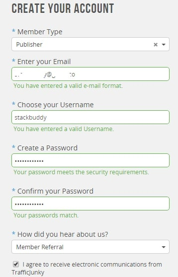 Traffic Junky Publisher Account Registration