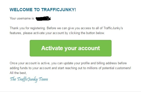 Trafficjunky Account Activation